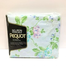 Vintage Pequot Percale Floral Full Double Fitted Bed Sheet Rhapsody NEW ... - $24.94