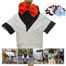 Lovelonglong Pet Costume Dog Suit Formal Tuxedo with Black Bow Tie for S... - £13.86 GBP