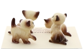 Hagen-Renaker Miniature Cat Figurine Tiny Siamese Kittens Set Chocolate Point image 3