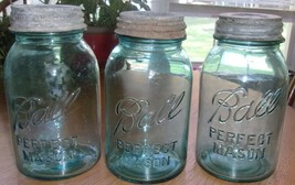 Lot 3 BLUE Ball Perfect Mason Canning Jars 1QT   #1 #3 and #5 - $20.00