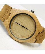 CUCOL Men's Bamboo Wooden Watch Brown Cowhide Leather Strap Casual Quart... - $16.83