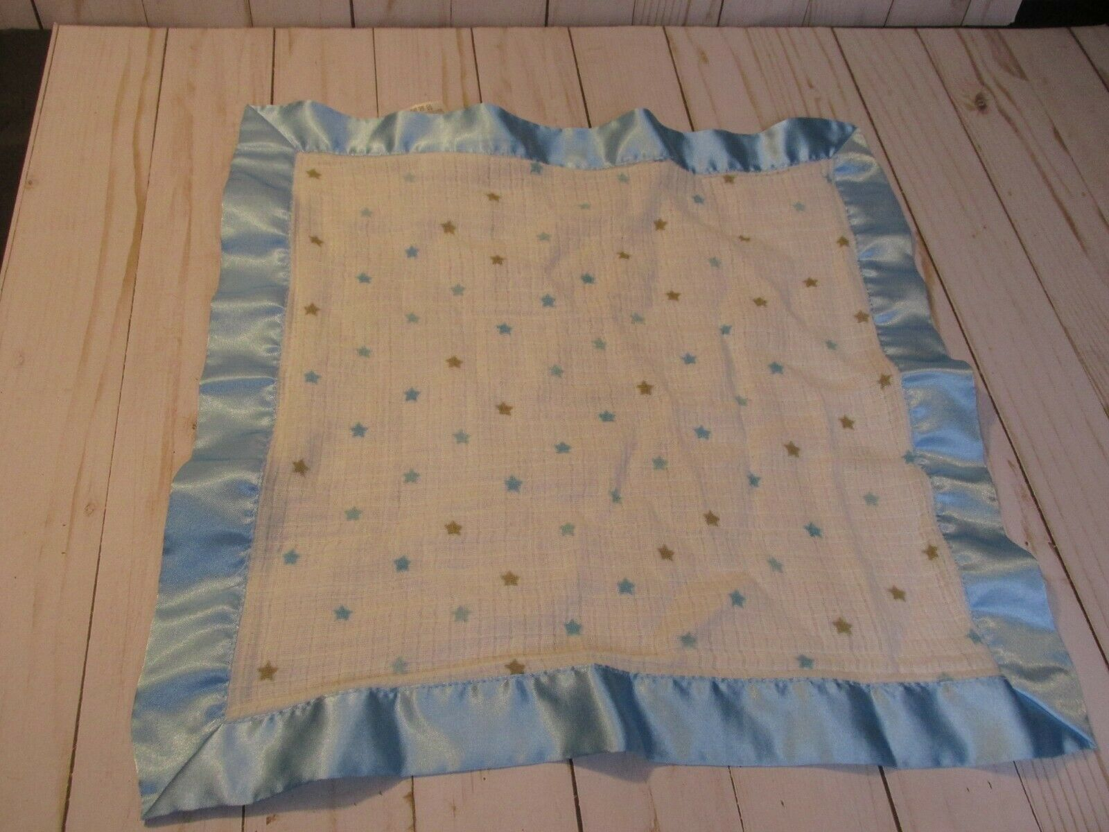 Primary image for C3 Aden + Anais Stars Blue Brown Blanket Baby Satin Silky Lovey Security