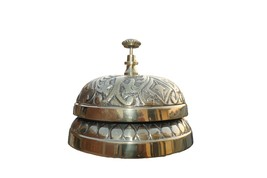 Victorian Style Service Desk Bell Ornate Solid Brass Hotel Counter Bell - $53.45