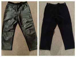 Vintage leather pants stretchy back, leather front size L-XL - $32.11