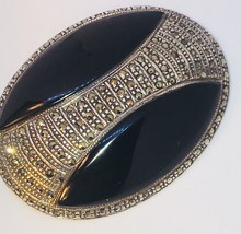 Vintage Large Sterling Silver With Onyx And Marcasite Brooch Pin - $54.45