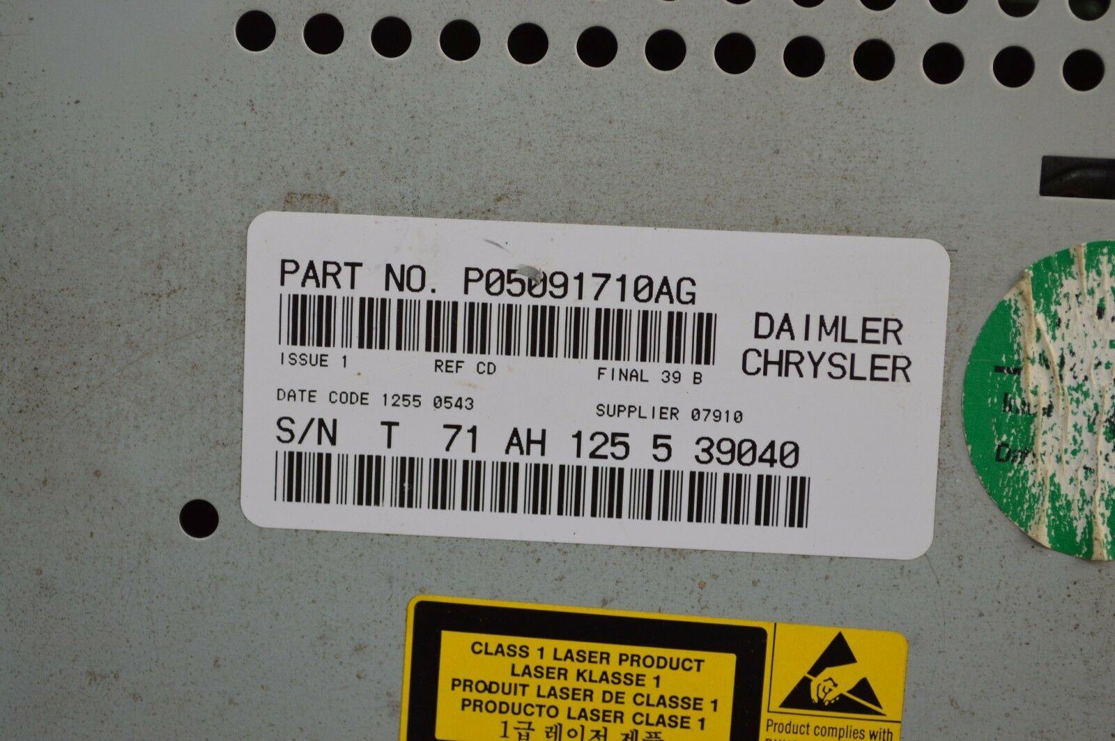 2004-2010 Chrysler Dodge Jeep Radio Cd MP3 AUX IPOD TESTED P05091710AG N49#019 image 6