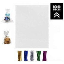100 Pcs 12x16 Clear Flat Cello/Cellophane Treat Bags for Gift Wrapping, Bakery,