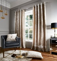 """CRUSHED VELVET CREAM LINED 66"""" X 90"""" RING TOP CURTAINS & 17"""" BUTTON CUSHION - $89.24"""