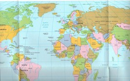 World Map and Western Hemisphere, 1990 Paper Wall Map 14 x 24 inches - $0.00