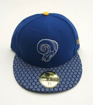 New Era Los Angeles Rams 5950 On Field 2017 Sideline Fitted Hat Blue Size 7 3/8 image 4