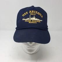 VTG USS Arizona BB-39 Blue Snapback Hat Pearl Harbor Dreadnought Memoria... - $33.65