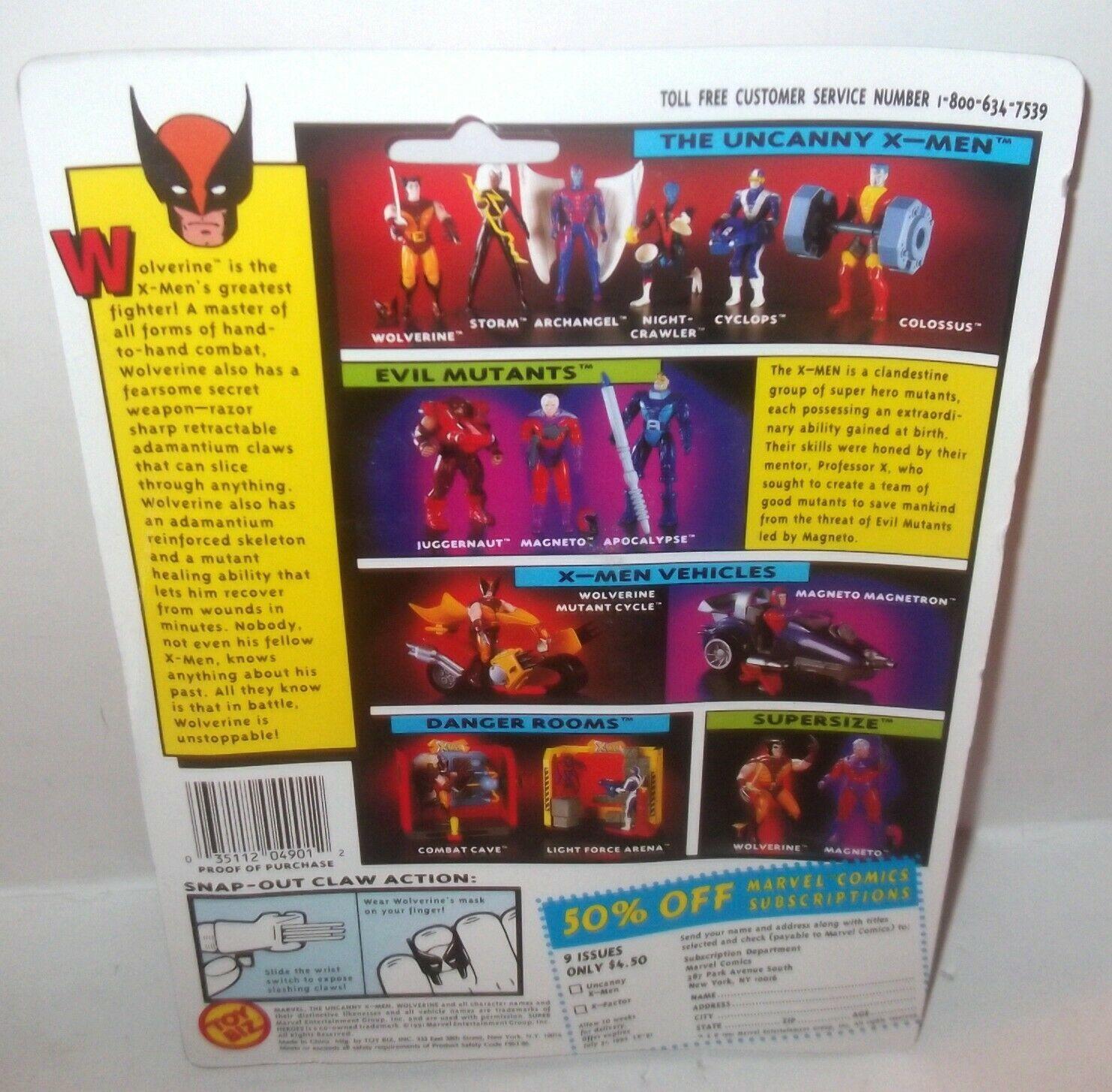 ✰ WOLVERINE ACTION FIGURE 1st edition w rare WOLVERINE CARD  MOC ~ TOY BIZ 1993