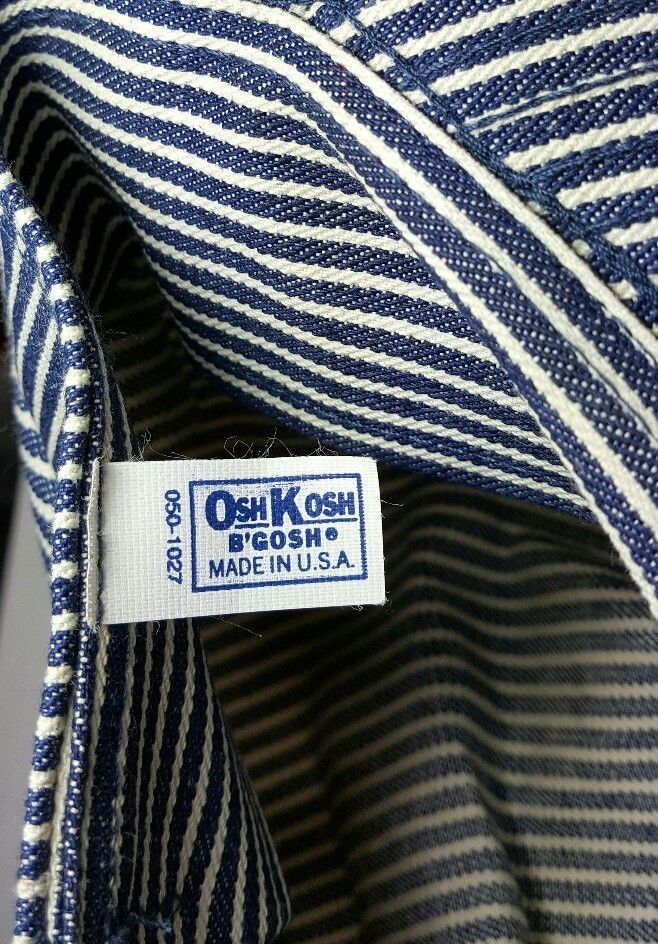 Vtg OshKosh B'Gosh Train Engineer Railroad Cap Hat USA Striped Osh Josh image 4
