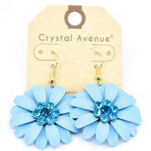 "Crystal Avenue Pale Sky Blue Spring Flower 2"" Drop Dangle Hook Metal Earrings image 3"