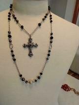 "18""VINTAGE SIGNED JJ BLACK CRYSTAL 2 STRAND CHRISTIAN CROSS PENDANT NECK... - $16.70"