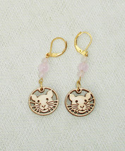 Cute Rat, Pink Quartz Gemstone Dangle Earrings with European lever backs... - $17.50