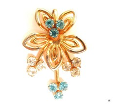 Aquamarine & Clear Rhinestone Vintage Floral Gold Plated Necklace Pendan... - $14.84