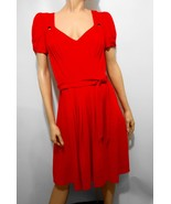 Beth Bowley Womens 6 Red Short-Sleeve Dress Below-Knee Sweetheart Neck - $37.73