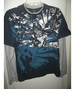 HAWK Men's Long Sleeve Shirt Blue Medium Cotton Skateboarding Layered - $7.00