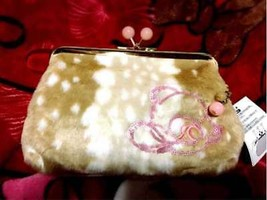 Disney Resort limited Bambi fur Pouch wallet embroidery purse Gamaguchi ... - $58.41