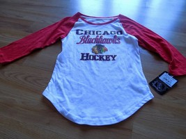 Girls Youth Size XL 14-16 NHL Chicago Blackhawks Hockey 3/4 Sleeve Shirt... - $18.00