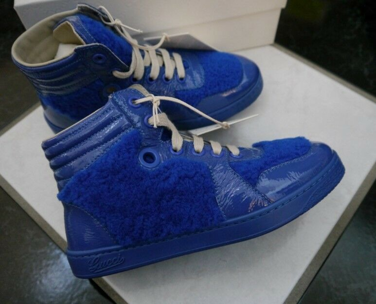 NIB 100% AUTH Gucci Blue Children's Blue shearling high top sneaker 356075 Sz 31