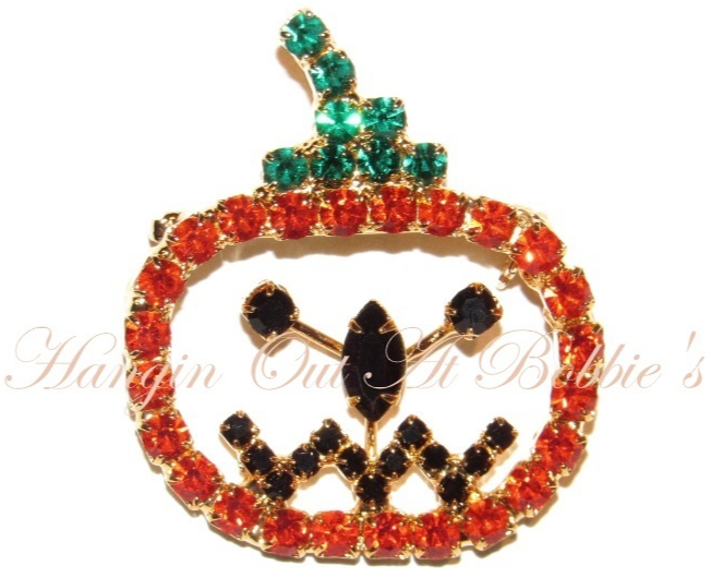 Primary image for Pumpkin Pin Brooch Orange Black Green Crystal Open Face Autumn Fall Halloween