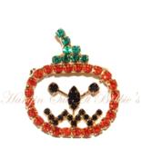 Pumpkin Pin Brooch Orange Black Green Crystal Open Face Autumn Fall Hall... - $16.99