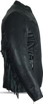 Ladies BIKER Black PREMIUM Naked Leather RIVETS Fringe MOTORCYCLE Jacket... - $164.99+