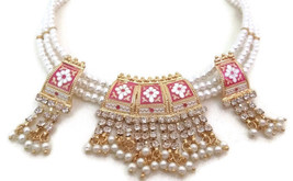 Indian Necklace Jewelry Set Pearl Rhinestone Meenakari Rani Colour Gold Plated - $15.88