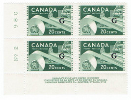 1956 Paper Industry Plate Block of 4 Canada Official Stamps Catalog O45 MNH