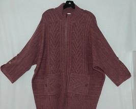 Simply Noelle Brand JCKT222Z Womens Mauve Zippered Sweater Jacket Size XXL image 2