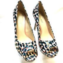 Nine West QTPIE Heels Women's Size 6.5 M Multi/color Geometric Peep Toe ... - $33.21