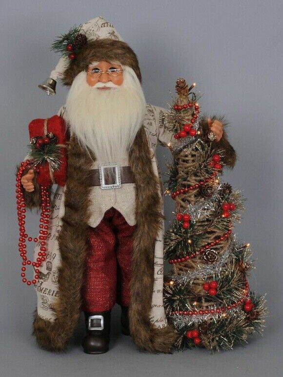 "Primary image for Karen Didion Woodland Elegance Santa Claus lighted tree 18"" CC16-113"