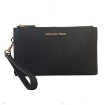Michael Kors Jet Set Travel Large Double Zip Leather Wristlet Wallet-Black - $89.00