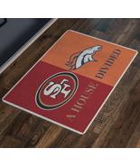 House Divided Football Man Cave Decor Broncos 49ers Custom Doormat Entry... - $29.49
