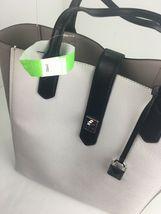 Michael Kors Bag Cassie Tote Medium NS Tote Leather White Gray Black B2R image 12