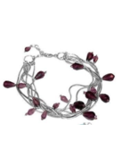 GBa FLOATING DROPS BRACELET: 7 braided silver chains w/cut glass beads. ... - $11.87