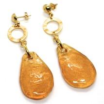 Earrings Antica Murrina Venezia, Hanging, Drop Big Orange, Leaf Gold image 1