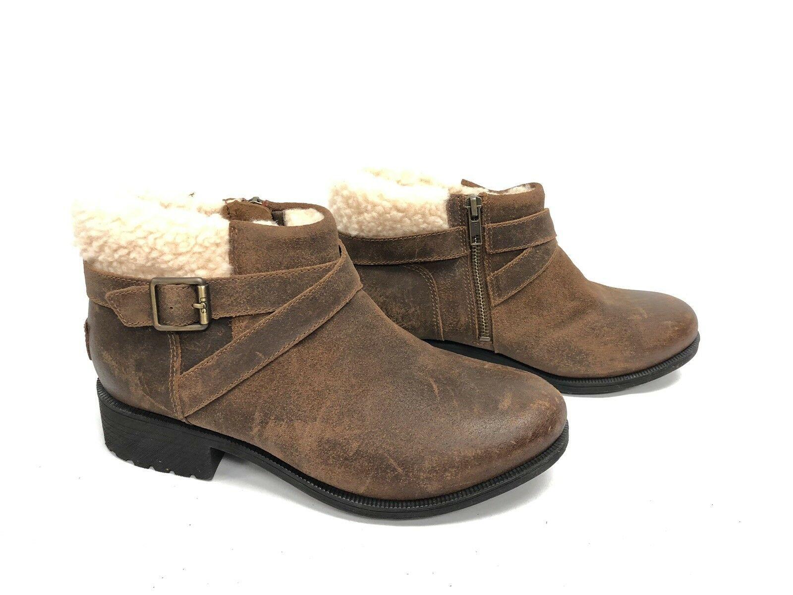 UGG Australia BENSON Buckle Sheepskin Ankle Booties 1095151 Chipmunk Waterproof image 4