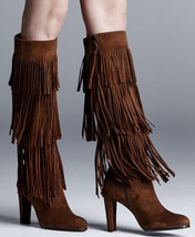 Stuart Weitzman Fringie Walnut Brown Knee Suede Boho Chic Fringe Boot Sz... - $399.98