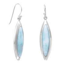 Rhodium Plated Marquise Larimar Earrings - $134.97