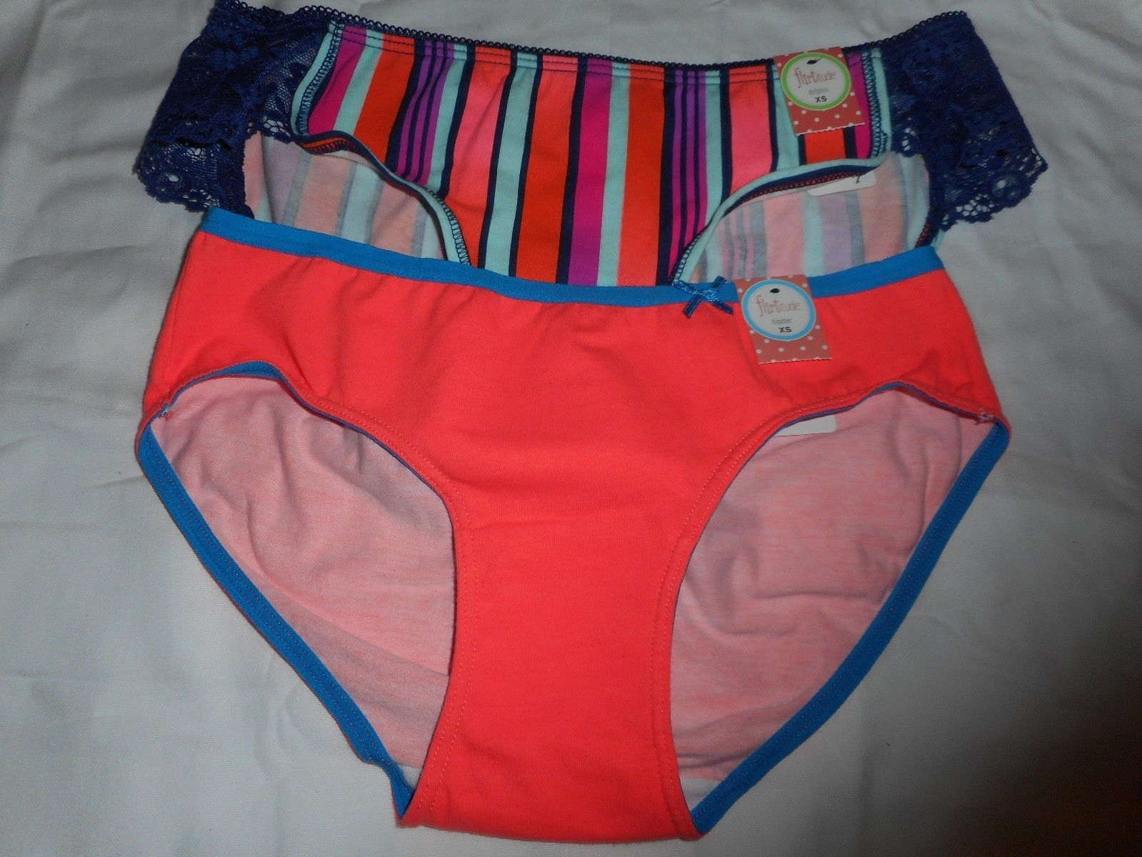 Women's Flirtitude Hipster Panties Set of 2 X-Small Stripes & Very Coral 21 - $13.85