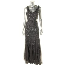 Adrianna Papell New Womens Gray Embellished Cut-Out Back Dress   10    $299 - $246.51