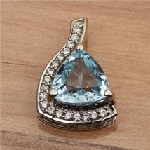 Trillion Cut Blue Topaz With White Zircon 925 Sterling Silver Eternity P... - $14.95