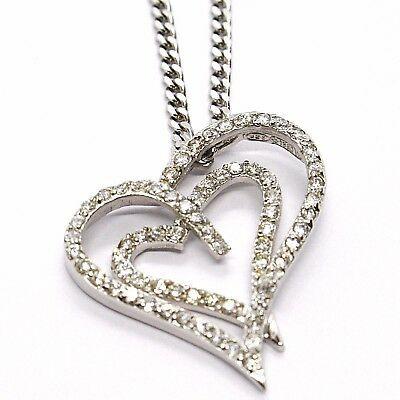 Collar Plata 925 ,Cadena Grumette, Colgante Colgante Corazón Doble, Zirconia