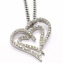 Collar Plata 925 ,Cadena Grumette, Colgante Colgante Corazón Doble, Zirconia image 1