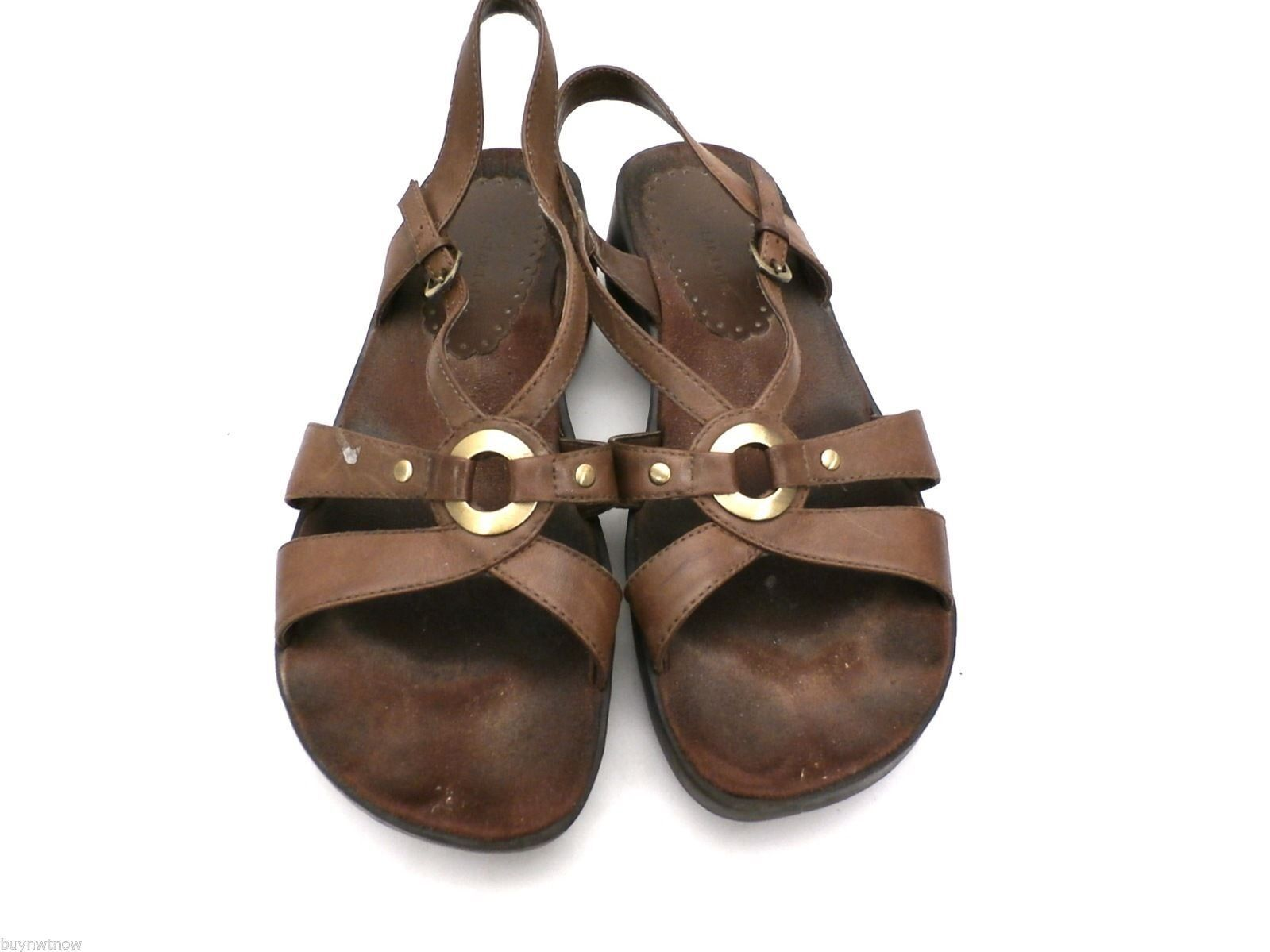 Womens Wear Ever Brown Leather Sandals Comfort Ostep 8.5 M