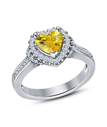 925 Sterling Silver Heart shape Yellow Sapphire Engagement Ring Cute Wom... - $52.65