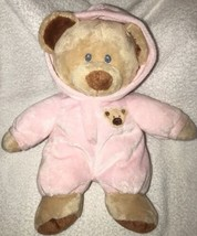 TY Pluffies Baby TyLux Pink Tan PJ BEAR Pajamas Teddy Baby 2010 Stuffed ... - $15.84